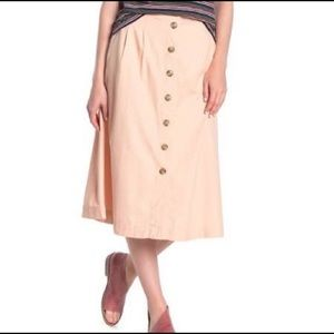 MADEWELL Patio Button Down Flare Midi Skirt Size12